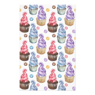 Watercolor cupcakes colorful stationery