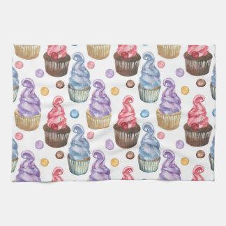Watercolor cupcakes colorful tea towel