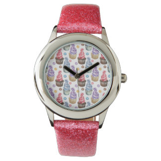 Watercolor cupcakes colorful watch