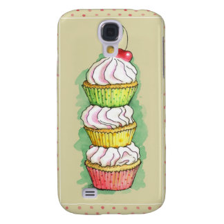 Watercolor cupcakes. Kitchen illustration. Galaxy S4 Case
