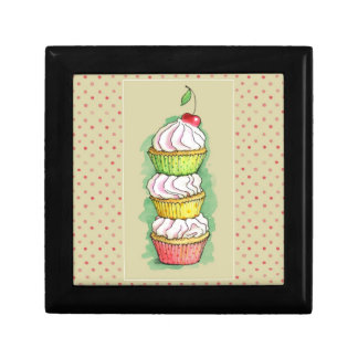 Watercolor cupcakes. Kitchen illustration. Gift Box
