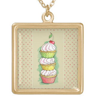 Watercolor cupcakes. Kitchen illustration. Gold Plated Necklace