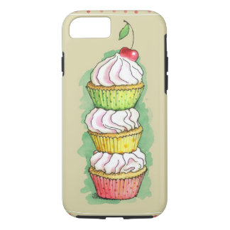 Watercolor cupcakes. Kitchen illustration. iPhone 8/7 Case