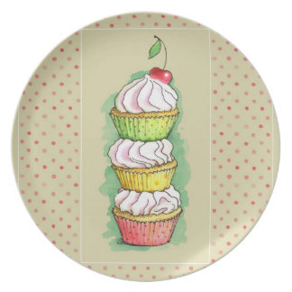 Watercolor cupcakes. Kitchen illustration. Party Plates
