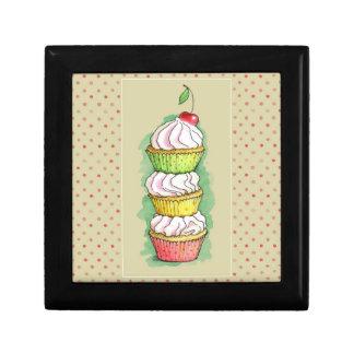Watercolor cupcakes. Kitchen illustration. Small Square Gift Box