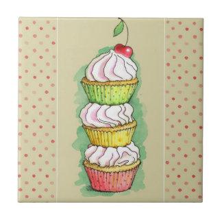Watercolor cupcakes. Kitchen illustration. Small Square Tile