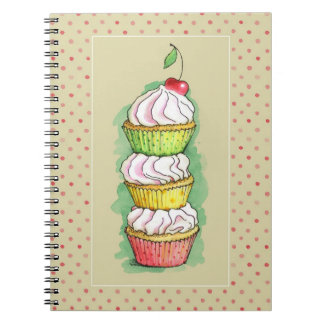 Watercolor cupcakes. Kitchen illustration. Spiral Notebook