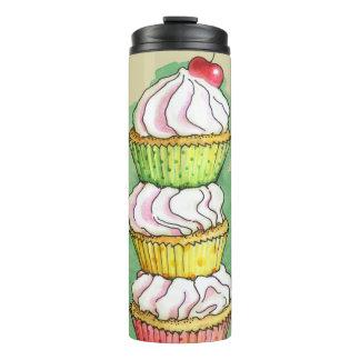 Watercolor cupcakes. Kitchen illustration. Thermal Tumbler
