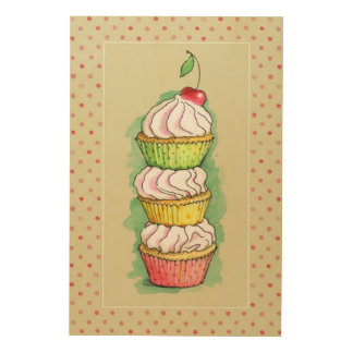 Watercolor cupcakes. Kitchen illustration. Wood Print