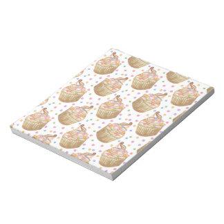 Watercolor cupcakes notepad