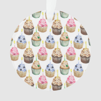 Watercolor cupcakes ornament