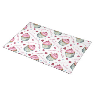 Watercolor cupcakes placemat