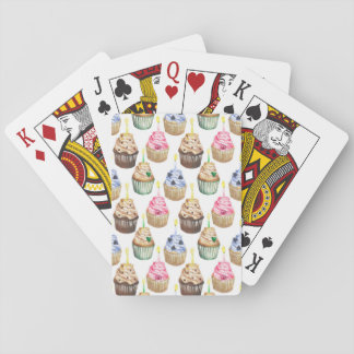 Watercolor cupcakes playing cards