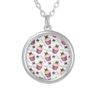 Watercolor cupcakes silver plated necklace