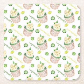 Watercolor cupcakes square paper coaster