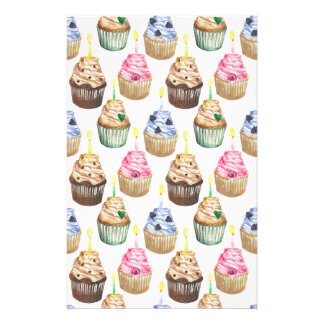Watercolor cupcakes stationery