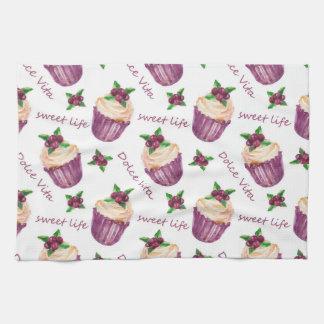Watercolor cupcakes tea towel