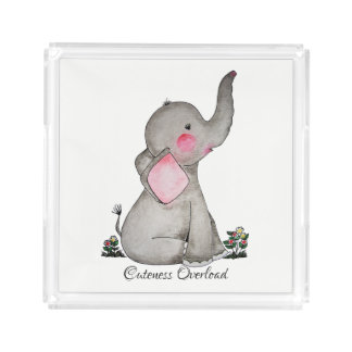 Watercolor Cute Baby Elephant With Blush & Flowers Acrylic Tray