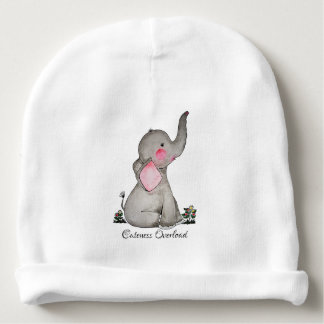 Watercolor Cute Baby Elephant With Blush & Flowers Baby Beanie