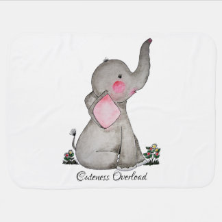 Watercolor Cute Baby Elephant With Blush & Flowers Baby Blanket