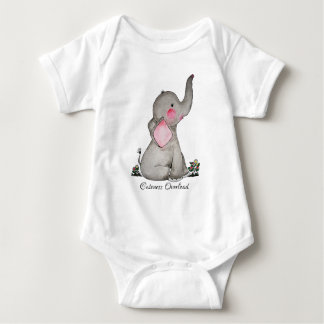 Watercolor Cute Baby Elephant With Blush & Flowers Baby Bodysuit