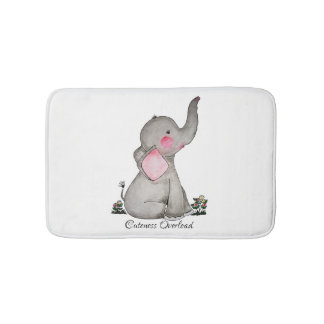 Watercolor Cute Baby Elephant With Blush & Flowers Bath Mat