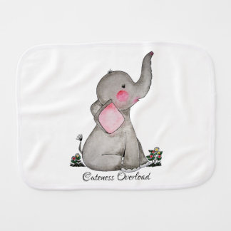 Watercolor Cute Baby Elephant With Blush & Flowers Burp Cloth