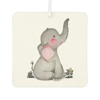 Watercolor Cute Baby Elephant With Blush & Flowers Car Air Freshener