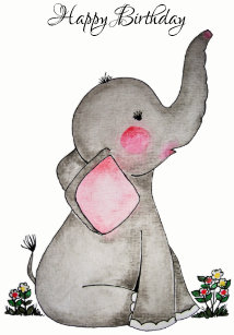 Watercolor Cute Baby Elephant With Blush Flowers Card