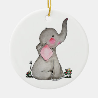 Watercolor Cute Baby Elephant With Blush & Flowers Christmas Ornament
