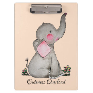 Watercolor Cute Baby Elephant With Blush & Flowers Clipboard