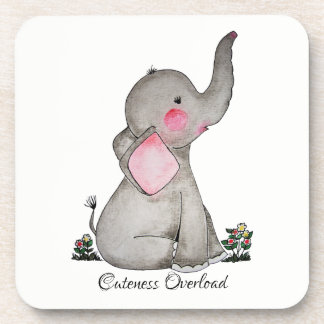 Watercolor Cute Baby Elephant With Blush & Flowers Coaster