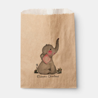 Watercolor Cute Baby Elephant With Blush & Flowers Favour Bags