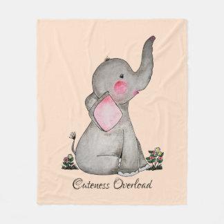 Watercolor Cute Baby Elephant With Blush & Flowers Fleece Blanket