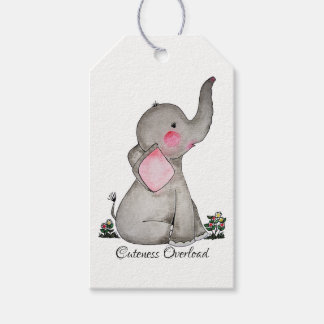 Watercolor Cute Baby Elephant With Blush & Flowers Gift Tags
