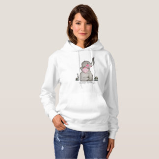 Watercolor Cute Baby Elephant With Blush & Flowers Hoodie