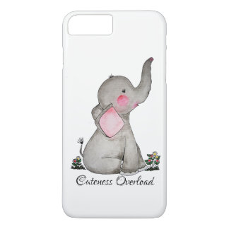 Watercolor Cute Baby Elephant With Blush & Flowers iPhone 8 Plus/7 Plus Case