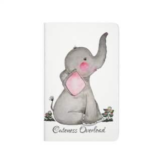 Watercolor Cute Baby Elephant With Blush & flowers Journal