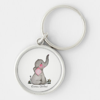 Watercolor Cute Baby Elephant With Blush & Flowers Key Ring