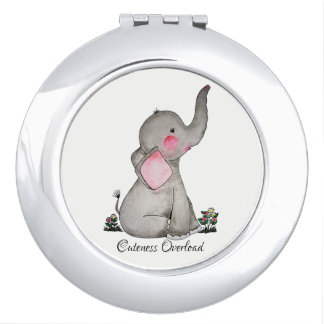Watercolor Cute Baby Elephant With Blush & Flowers Makeup Mirrors