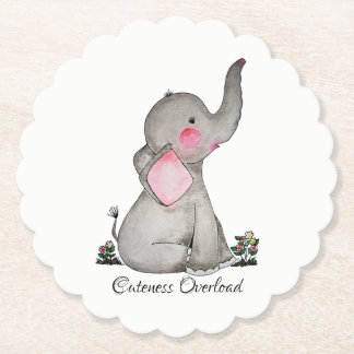 Watercolor Cute Baby Elephant With Blush & Flowers Paper Coaster