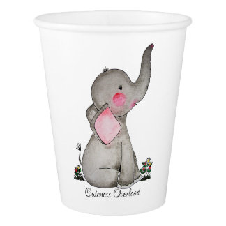Watercolor Cute Baby Elephant With Blush & Flowers Paper Cup