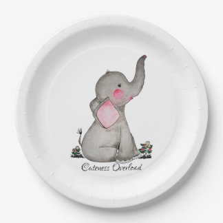 Watercolor Cute Baby Elephant With Blush & Flowers Paper Plate