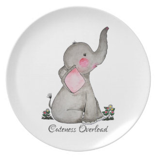 Watercolor Cute Baby Elephant With Blush & Flowers Plate