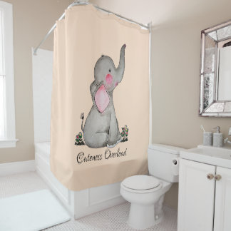 Watercolor Cute Baby Elephant With Blush & Flowers Shower Curtain