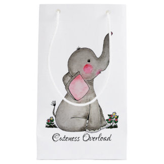 Watercolor Cute Baby Elephant With Blush & Flowers Small Gift Bag
