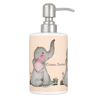 Watercolor Cute Baby Elephant With Blush & Flowers Soap Dispenser And Toothbrush Holder