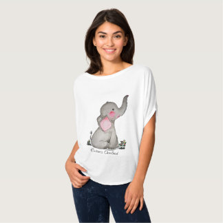 Watercolor Cute Baby Elephant With Blush & Flowers T-Shirt