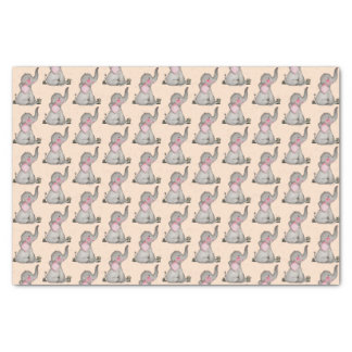 Watercolor Cute Baby Elephant With Blush & Flowers Tissue Paper