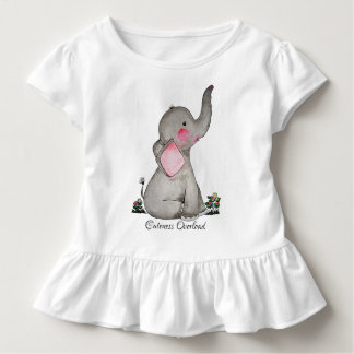 Watercolor Cute Baby Elephant With Blush & Flowers Toddler T-Shirt